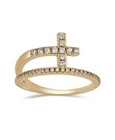 Crystal Cross Bypass Ring