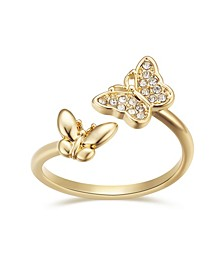 Crystal Double Butterfly Bypass Ring