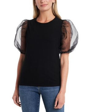 1.state ORGANZA PUFF-SLEEVE TOP