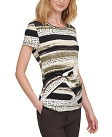 Printed Knot-Front Top, Regular & Petite Sizes