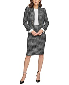 Petite Plaid Blazer & Tweed Pencil Skirt