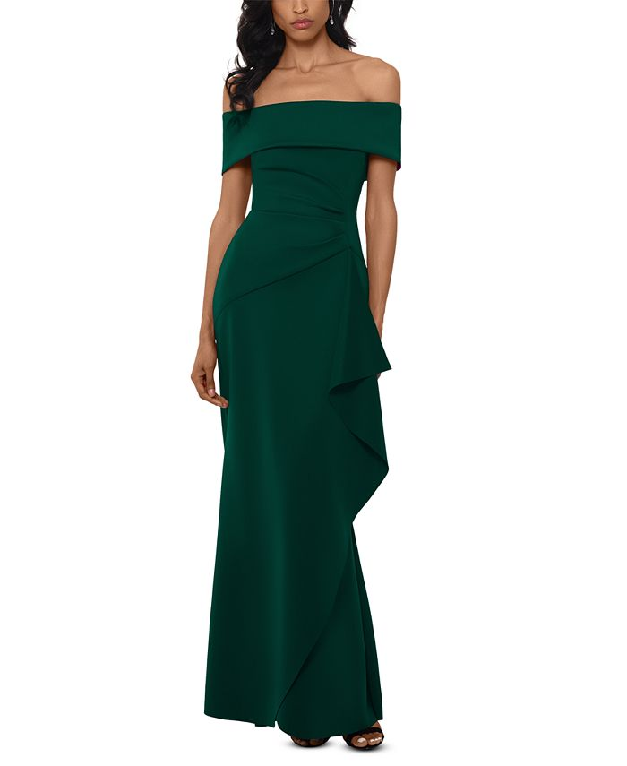 XSCAPE - Ruffled Off-The-Shoulder Gown