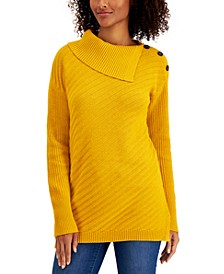 Ribbed Button-Detail Tunic Sweater, Created for Macy's