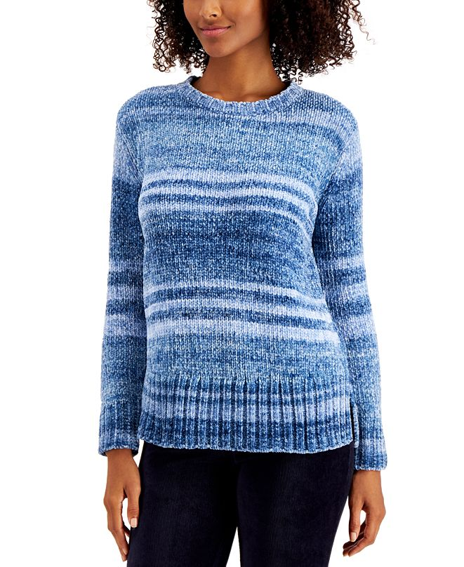 Style & Co Printed Chenille Sweater, Created for Macy's, Regular & Petite