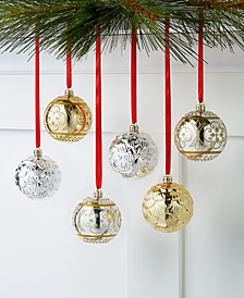 Shine Bright Gold and Silver Shatterproof Ornaments, Set of 6, Created for Macy's