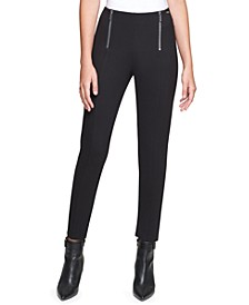 Zipper-Front Pull-On Leggings