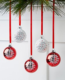 Chalet You Stay, White & Red Glass Ornaments, Set of 5, Created for Macy's