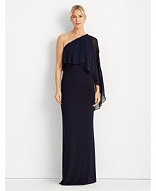 Cape-Overlay Asymmetric Gown