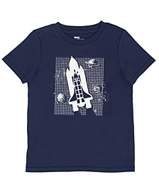 Little Boys Short Sleeve Space Ship Graphic T-Shirt, Created For Macy's