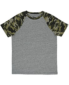 Big Boys Short Sleeve Crew Neck Camo Sleeve T-Shirt