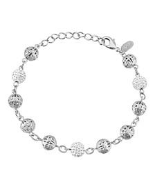 Silver-Tone Crystal Fireball and Filigree Beaded Bracelet