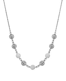"""Silver-Tone Round Balls with Crystal Fireballs 16"""" Adjustable Necklace"""