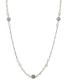 """Silver-Tone Pink Bead 32"""" Long Necklace"""