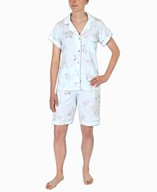 Floral-Printed Bermuda Shorts Pajama Set