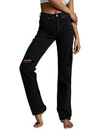 Long Straight Leg Denim Jeans
