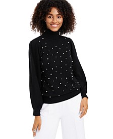 Cashmere Embellished Turtleneck Sweater, Created for Macy's