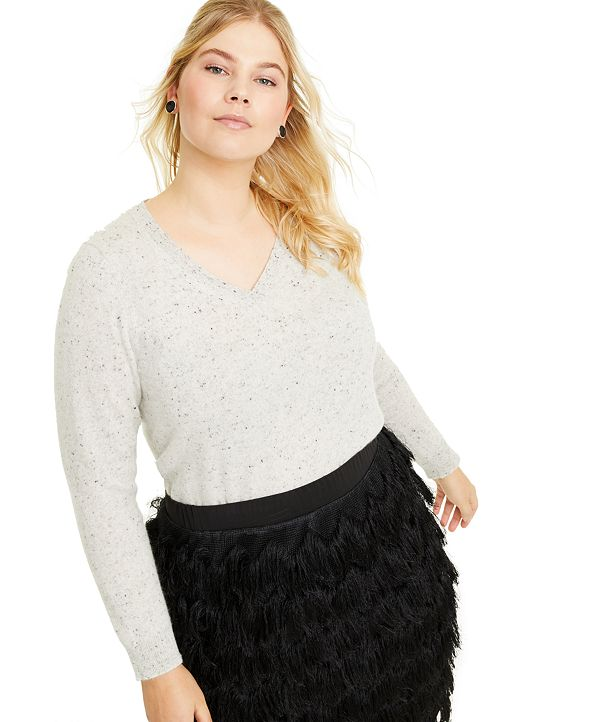 Charter Club Plus Size Donegal V-Neck Sweater, Created for Macy's