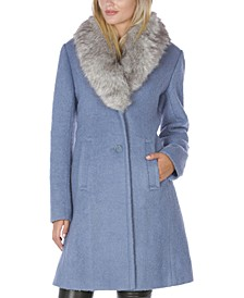 INC Faux-Fur Collar Walker Coat, Created for Macy's