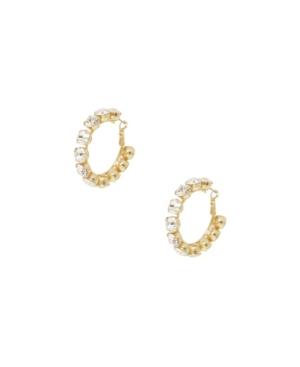 Ettika SMALL CRYSTAL AND 18K GOLD WARRIOR HOOP WOMEN'S EARRINGS