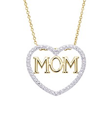 Diamond Accent Gold-plated Mom Heart Pendant Necklace