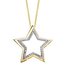 Diamond Accent Gold-plated Open Star Pendant Necklace