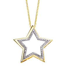 Macy's Diamond Accent Gold-plated Open Star Pendant Necklace