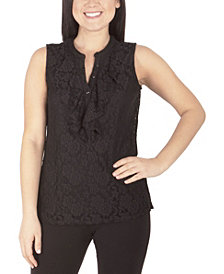 NY Collection Women's Plus Size Lace Sleeveless Top