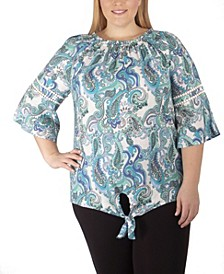 Women's Plus Size 3/4 Sleeve Paisley Print Blouse