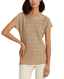 Cable-Knit Short-Sleeve Sweater