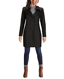 Kenneth Cole Faux-Fur-Collar Single-Breasted Coat, Created for Macy's