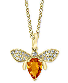 """EFFY® Madera Citrine (3/4 ct. t.w.) & Diamond (1/8 ct. t.w.) Bee 18"""" Pendant Necklace in 14k Gold"""