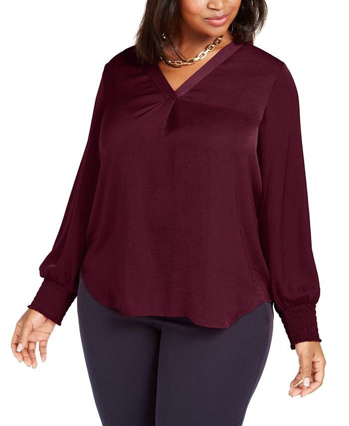 Alfani - Plus Size V-Neck Smocked-Sleeve Swing Blouse