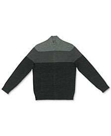 Men's Ombré Colorblocked Ribbed-Knit Full-Zip Sweater, Created for Macy's