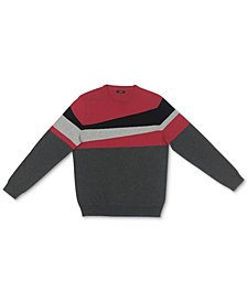 Alfani Men's Blocked Crewneck Cotton Sweater, Created for Macy's