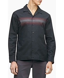 Men's Striped Button-Down Long Sleeve Camp Shirt