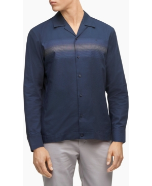 Calvin Klein Men's Striped Button-Down Long Sleeve Camp Shirt