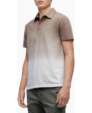 Calvin Klein Men's Short Sleeve Monogram Ombre Slub Polo Shirt