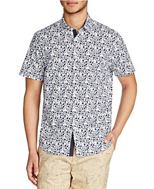 Tallia Men's Slim-Fit Stretch Mini Floral Print Short Sleeve Shirt and a Free Face Mask With Purchase