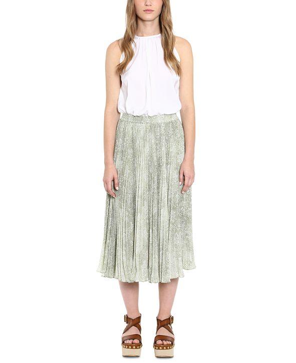 Michael Kors Pleated Printed Midi Skirt