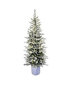 """7.5"""" Pre-Lit Potted Flocked Arctic Fir Pencil Artificial Christmas Tree"""
