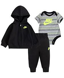 Baby Boys Bodysuit, Zip Hoodie and Joggers Set