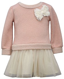 Toddler Girl Long Sleeved Sparkle French Terry Dress With Plush Bow, Glitter Mesh Ballerina Skirt