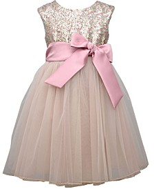 Toddler Girl Cap Sleeve Sequin Bodice Dress With T-Length Mesh Ballerina Skirt And Satin Bow