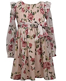 Big Girl Long Sleeved Lurex Chiffon Floral Printed Dress With Smocked Bodice And Self Tie At Waist