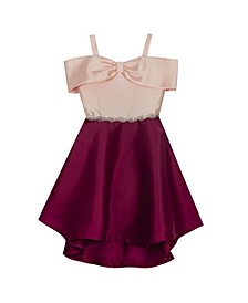 Big Girl Mikado Cold Shoulder Bodice With Bow Detail