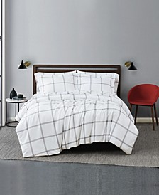 Printed Windowpane 2 Piece Comforter Set, Twin Xl