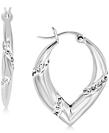 Crystal Chevron Hoop Earrings in Fine Silver-Plate