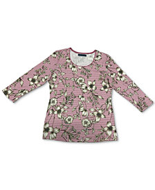 Karen Scott Floral 3/4-Sleeve Top, Created for Macy's