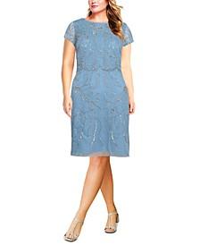 Plus Size Beaded Sheath Dress