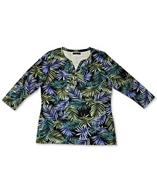 Petite Printed Henley Top, Created for Macy's